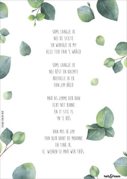 kaart met Fries gedicht